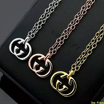 GUCCI Hot Sale Couple Simple Double G Pendant Necklace Jewelry Accessories