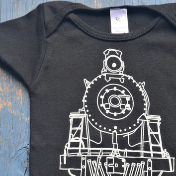 TRAIN Onesuit - Cotton Baby Onesuit Black Train Line Drawing by Locomotive Clothing