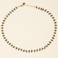 GOLD CHAIN WITH BLACK BEADS NECKLACE