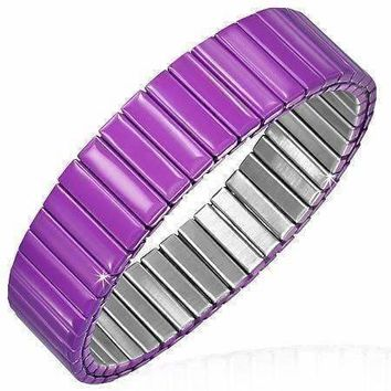 ON SALE - Plum Anodized Color Stainless Steel Stretch Bracelet