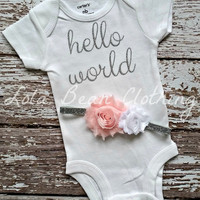 NEW Newborn Take Home Outfit Baby Girl Hello World Onesuit Headband LolaBeanClothing