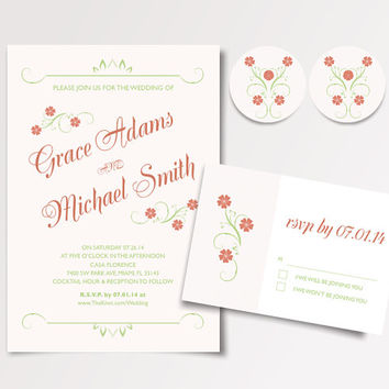 Printable Garden Wedding Invitation Template - Available for Instant Download - DIY