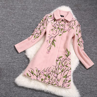 Embroidered Wool Coat Jacket in Pink