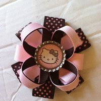 Hello Kitty -kids character bow -Pink and brown