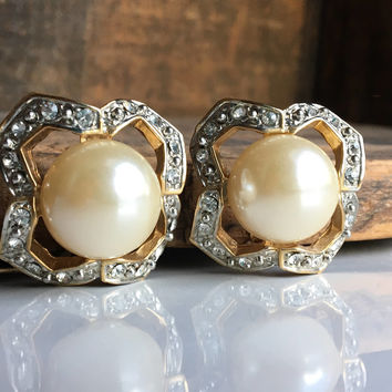 Vintage Rhinestone and Faux Pearl Earrings, Big Earrings, Clip On Earrings, Regal Earrings, Etsy, Etsy Jewelry