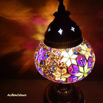 Colourful Turkish handmade glass mosaic table lamp, bedroom night lamp, bedside lamp, night light.