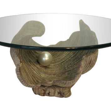 Hand-Carved Clam Shell w/ Pearl Table