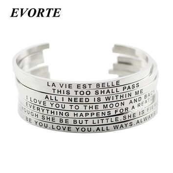 2018 Hot 316L Stainless Steel Engraved Positive Inspirational Quote Cuff bracelet Mantra Bracelet Bangle for women