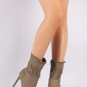 Shoe Republic Frayed Denim Peep Toe Stiletto Booties