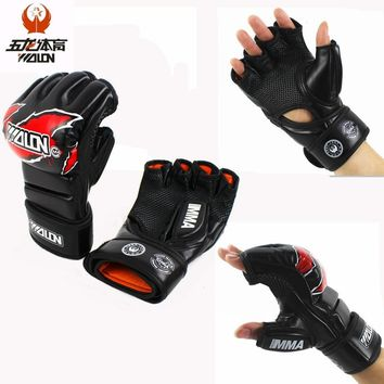 Half Finger MMA UFC Sparring Grappling Fight Punch Mitts PU Leather Training Gloves