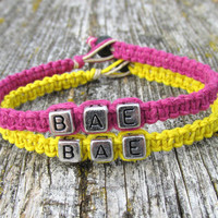 Pink and Yellow BAE Bracelets, Set of Two, Handmade Hemp Jewelry for Couples or Best Friends