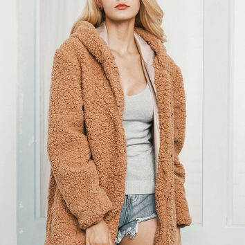 Camel Faux Shearling Hooded Coat