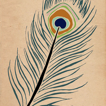 Peacock Feather - Fine Art Illustration Drawing PRINT