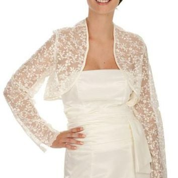 CLEARANCE - Embroidered Lace White Long Sleeve Bolero Jacket (Size S, M, L)