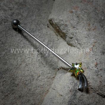 Green Shooting Star Industrial Barbell Glitter Opal Star 14ga Surgical Stainless Steel Ear Bar Body Jewelry