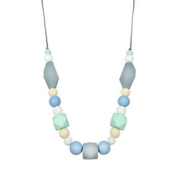 Silicone Teether Necklace for Moms and Baby - Blue/Mint