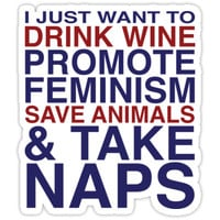 'Feminist Wine Club' Sticker by morethanno