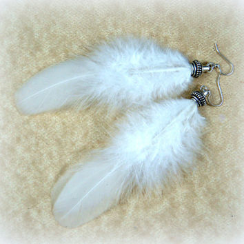 "Pure White Feather Earrings - Goth, Rave, Punk, Steampunk Feather Earrings - Simple White Feather Earrings - 5"" Feather Earrings -"