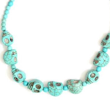 Witch Doctor Stations Necklace Turquoise Howlite NG72 Skulls Voodoo Bead Tribal Chunks Strand