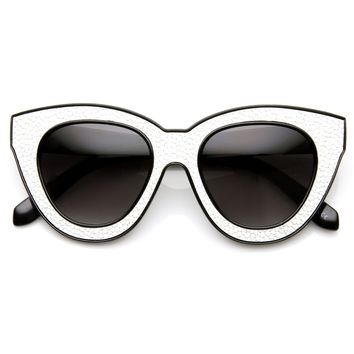 Womens Trendy Texture Block Cut Oversize Cat Eye Sunglasses 9284