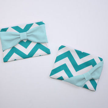 Cosmetic Case / Zipper Pouch / Makeup Bag - Turquoise and White Chevron with Aqua Bow - Customizable Bow Style