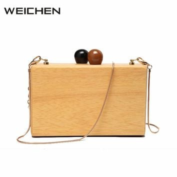 Women's Small Bag Wood Autumn Vintage Evening Clutch Bag Box Woody Messenger Bags for Women 2017 Small Autumn Winter Case Bags