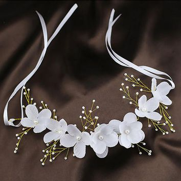 DCCKF4S Wedding Hair Accessories For Bridal Lace Flowers Crystal Pearl Headbands Korea Trendy Floral Tiaras Crowns  Women Hair Headdress