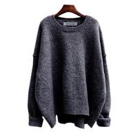 Black Folded Sleeve Knitted Sweatshirt