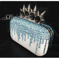 Spiked Knuckle Duster Clutch - Rain