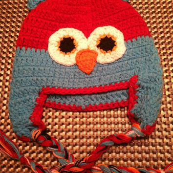 CROCHET HAT - RED / TURQUOISE OWL
