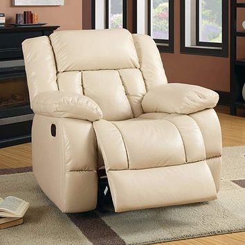 Bonded Leather Glider Recliner, Ivory