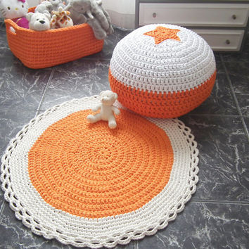 Orange Round Rug - Orange Crochet  Rug -Crochet Floor Rug - Cotton Rag Rug - Children Crochet Rug - Knit Rug
