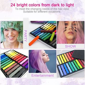 24 Pcs/Set Temporary Hair Chalk Non-Toxic Rainbow Colors Dye Pastel Kit Color Essentials Set SSwell