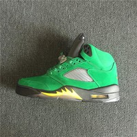 "Air Jordan 5 Retro ""Oregon"" Suede Green Dunk Sneaker"