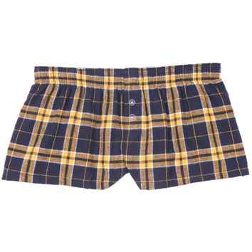 Boxercraft Navy and Gold Flannel Bitty Boxer
