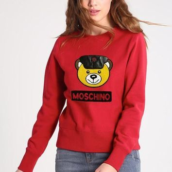 DCCKV3X Moschino Bear Embroidery Long Sleeve Top Sweater Pullover Sweatshirt