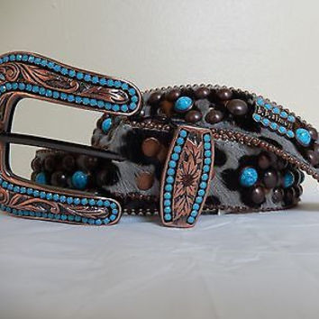 B.B. Simon 'Marble' Studded Swarovski Crystal & Pony Hair Belt