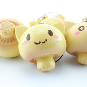 Kawaii Mushroom Expression Squishy Bread Soft Buns Scented Phone Straps Squishy Key Chains