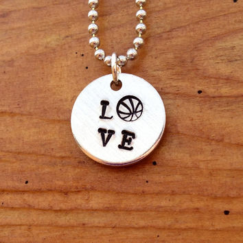 LOVE Basketball Necklace  Hand Stamped by KennabelleDesigns