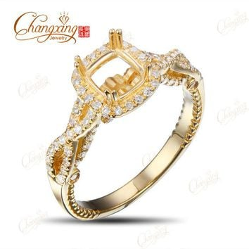 5.0mm Cushion Cut Natural Diamond 14K Yellow Gold Engagement Semi Mount Ring New