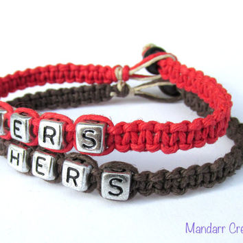 Hers and Hers, Bracelets for LGBT Couples, Red and Brown Handmade Hemp Jewelry
