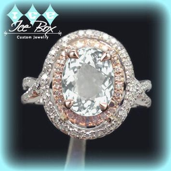 White Sapphire Engagement Ring 2.5ct Oval 14k White and Rose Gold Two Toned Diamond Halo