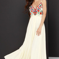 Raga Isabella Embroidered Pale Yellow Maxi Dress