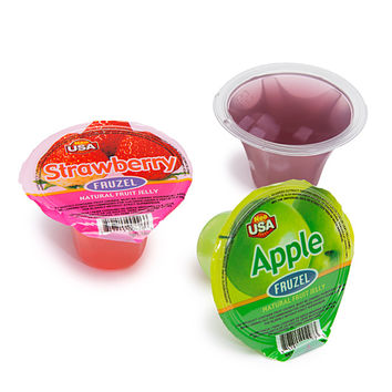 Fruzel Assorted Natural Fruit Jelly Candy Cups: 36-Piece Jar