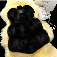 Winter Coats Colete De Pele Feminina Plus Size Faux Fox Fur Vest Outwear Female Sleeveless Vest Fur Waistcoat