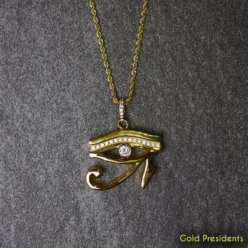 Gold Eye of Horas Iced Pendant & Necklace