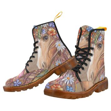 Flowers And Feathers Horse  Lace Up Martin Boots for Women