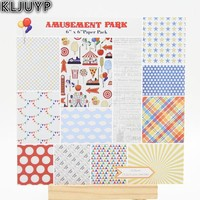 KLJUYP 24 Sheets Auseaent Park Scrapbooking Pads Paper Origami Art Background Paper Card Making DIY Scrapbook Paper Craft
