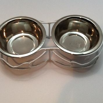 Dog Bowls Stainless Steel White