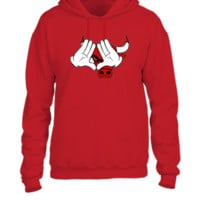 mickey mouse hand  chicago bulls - UNISEX HOODIE